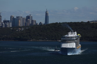 The Spectrum of the Seas cruise ship leaves Sydney Harbour.