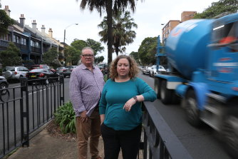 Resident Carla Degenhardt and Gumnut Gardens early learning centre operator Chris Kimber are worried about the pop-up cycleway on Moore Park Rd.
