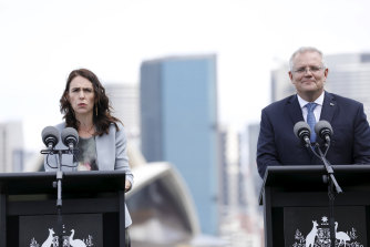 New Zealand Prime Minister Jacinda Ardern and PM Scott Morrison.