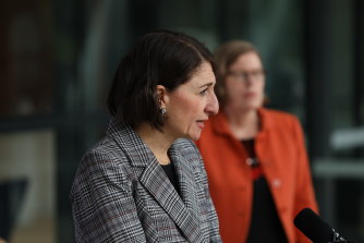 Premier Gladys Berejiklian providing an update on COVID-19 on Saturday.