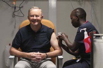 Opposition Leader Anthony Albanese received his first COVID-19 vaccination in February. He's suggested offering a cash incentive to reach vaccination targets by December.