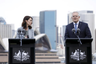 Tough talking: New Zealand Prime Minister Jacinda Ardern was not afraid to take on Scott Morrison at the latter's official Sydney residence.