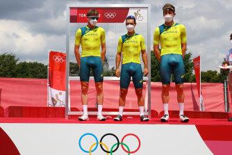 Lucas Hamilton, left, Richie Porte, centre, and Luke Durbridge right, represented Australia in the men's road race.