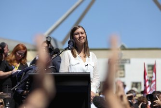 Former ministerial staffer Brittany Higgins at a rally in Canberra in March.
