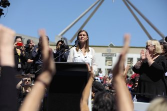 Former Liberal staffer Brittany Higgins speaking at the March 4 Justice rally outside Parliament House.