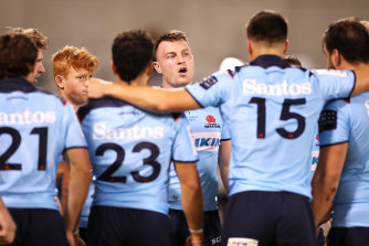 Jack Dempsey addressing the Waratahs team during their loss to the Brumbies.