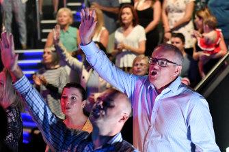 Prime Minister Scott Morrison at Horizon Church on Easter Sunday in 2019.