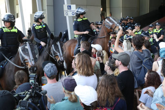 Mounted police face off with protesters at the International Mining and Resources Conference in Melbourne last week.