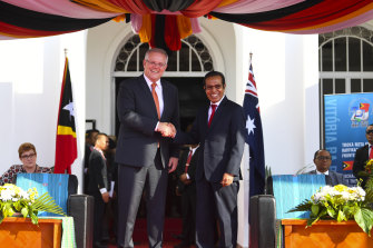 Prime Minister Scott Morrison, left, and East Timorese PM Taur Matan Ruak during a ceremony for the ratification of the maritime boundary treaty between Australia and East Timor in Dili last year.
