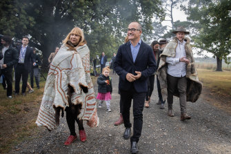 Aunty Geraldine Atkinson of the First Peoples' Assembly with acting Premier James Merlino and (right) Marcus Stewart at the launch of the Yoo-rrook Justice Commission.