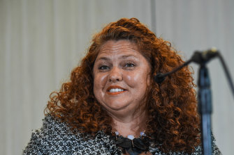 Collingwood integrity committee member Jodie Sizer at a Collingwood press conference on Monday,
