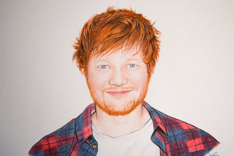 An image of pop star Ed Sheeran, drawn by Nathan McCarron.