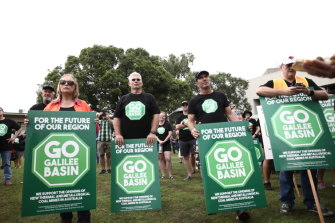 People attend a 'Go Galilee Basin' pro-coal mining rally at Mackay, Queensland in April this year.