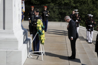 Prime Minister Scott Morrison lays a wreath at Arlington National Cemetery during his state visit to the United States.