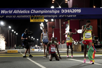 Scenes at the finish line in Doha.