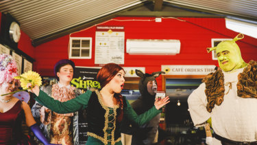 Shrek The Musical, presented by Free Rain Theatre Company. Max Gambale as Shrek, and Laura Murphy as Princess Fiona.
