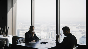 Sommeliers Dorian Guillon (left) and Carlos Santos during a wine tasting at Melbourne's Vue de Monde restaurant, where they both work.