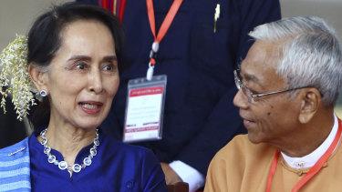 Myanmar's de factor leader Aung San Suu Kyi with President Htin Kyaw.