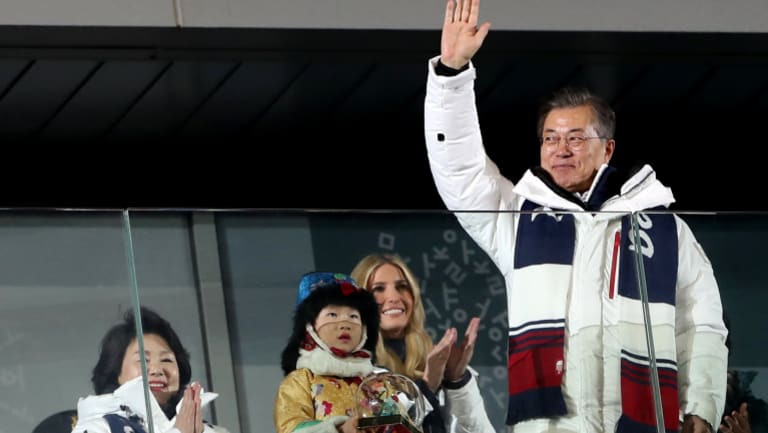 South Korean President Moon Jae in, South Korea's first lady Kim Jung-sook  and Ivanka Trump  arrive for the the closing ceremony of the PyeongChang 2018 Olympic Games.