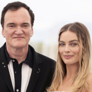 Quentin Tarantino at the Cannes film festival with Australian Margot Robbie, who plays Sharon Tate in Once Upon a Time ... in Hollywood.