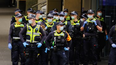 Police in Melbourne on Friday.