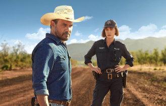 Aaron Pedersen and Judy Davis in the TV series Mystery Road.