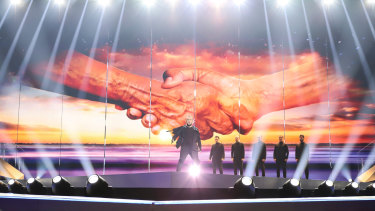 Politics, art and symbolism: Oto Nemsadze, from Georgia, performs Keep on Going at Eurovision rehearsals.