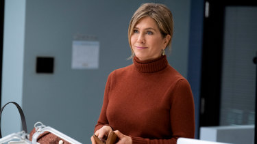 Jennifer Aniston leans into her own comic timing and her enduring aura in her role as Alex Levy in Morning Wars.