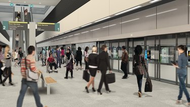 An artist's impression of an underground metro train station planned for Westmead.