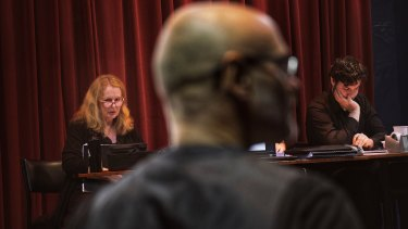 Suzanne Chaundy directs the cast of Melbourne Opera's <i>Das Rheingold</i> in rehearsal.