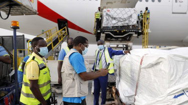 The first shipment of COVID-19 vaccines distributed by the COVAX Facility arriving at the Kotoka International Airport in Accra, Ghana.
