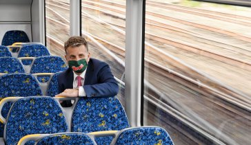 NSW Transport Minister Andrew Constance inspects a new Waratah Series 2 train on Wednesday.