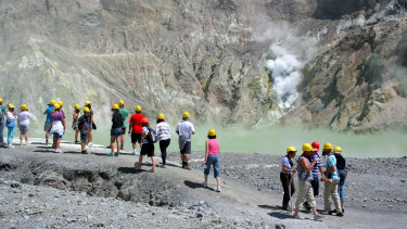 A file photo of visitors to White Island.