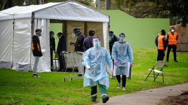 A testing site is set up at the public housing tower on Racecourse Road in Flemington.