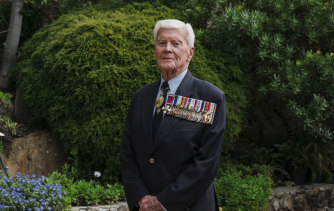 Rear Admiral (Ret'd) Guy Griffiths, pictured at his home in Castle Cove. He hopes Australia is never involved in another world war.