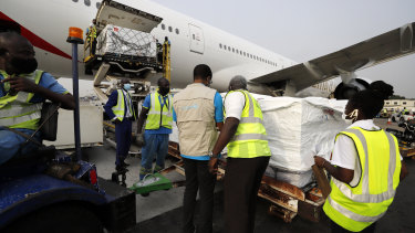 The first shipment of COVID-19 vaccines arrives in Accra, Ghana.