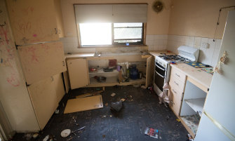 A kitchen in one of the decommissioned flats in Northcote.