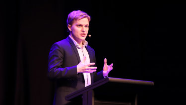 Ronan Farrow on stage at the Melbourne Writers Festival.