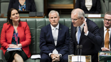 Prime Minister Scott Morrison during question time.