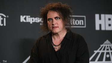Robert Smith in March 2019, as The Cure were inducted into the Rock & Roll Hall of Fame in New York.