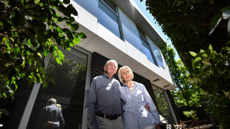 Kevin and Jennifer Opie pictured at their South Yarra apartment block in November 2018.
