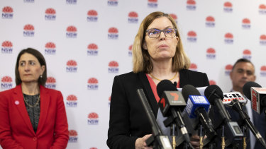NSW Chief Health Officer Dr Kerry Chant addresses the media on Friday with Premier Gladys Berejiklian and Deputy Premier John Barilaro.