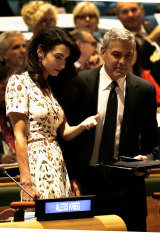 Clooney and his wife, human rights lawyer, Amal Clooney.