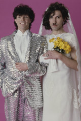 Russell (left) and Ron Mael dressed as a bride and groom in 1982 for the cover of their album, 'Angst In My Pants'.