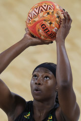 Shimona Nelson of the Magpies is a picture of concentration as she prepares to shoot.