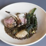 Frederic's lamb roast with kale and puy lentils.