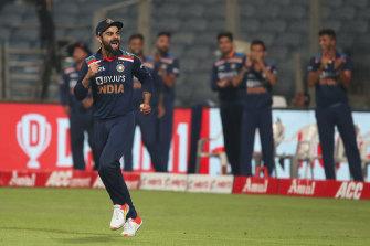 India captain Virat Kohli celebrates victory over England.