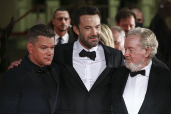 Matt Damon, Ben Affleck and Ridley Scott on the red carpet in Venice.