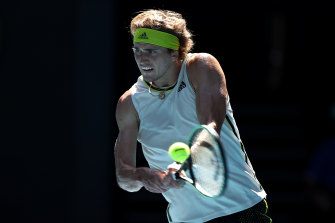 Alexander Zverev plays a backhand in his match against Adrian Mannarino on Friday.
