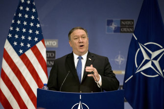 US Secretary of State Mike Pompeo speaks to the press from NATO headquarters in Brussels in 2018.